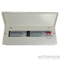 6+6 Way Split Load Consumer Unit c/w Round Knockouts 2x100A RCD's & 10 x MCBS