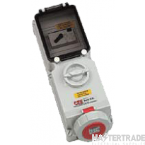 BALS Combination Unit, IP44 Switch Interlocked Socket Angled +RCD 3P+N+E, IP44