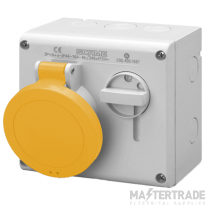 Scame 500.M1670 IP44 Switched Interlock Socket 2P+E 16A Yellow