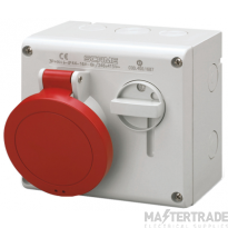 Scame 500.M3287 IP44 Switched Interlock Socket 3P+N+E 32A Red