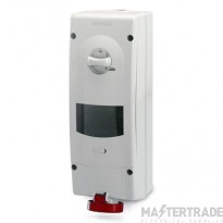 Scame 513.3257T IP44 Switch Interlocked Socket Angled 3PNE 32A Red