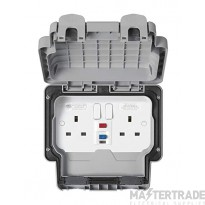 """MK Masterseal Plusâ""""¢ 2-Gang 1-Pole Passive Control Circuit RCD Protected Socket 13A Grey K56233GRY"""