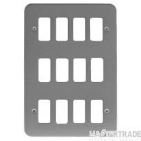 Crabtree Rockergrid Birch Grey Frontplate 12 Gang Rockergrid Surface 6580/BG