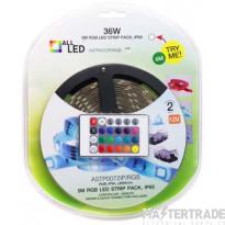 ALL LED ASTP0072IP/RGB IP65 LED Strip Kit RGB c/w Controller & Driver Reel=5m 7.2W/m 12V 10mmx5m