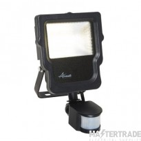 Calinor LED Polycarbonate Floodlight - PIR Cool White 10W Black
