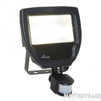 Calinor LED Polycarbonate Floodlight - PIR Cool White 30W Black