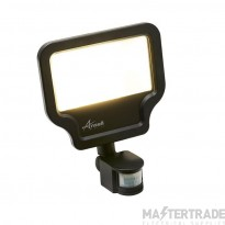 Calinor LED Polycarbonate Floodlight - PIR Cool White 50W Black