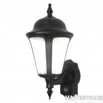 Ansell Modern Latina 8W LED Wall Lantern with PIR Black ALWLLED/PIR/BL