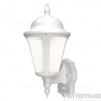 Ansell Modern Latina 8w LED Wall Lantern with PIR White ALWLLED/PIR/WH