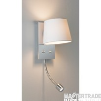 Astro 1114002 Sala LED White Shaded Wall Light With an Integral LED Reading Lamp