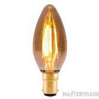 BELL 1431 4W LED Vintage Candle - SBC, Amber, 2000K
