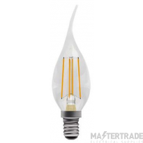 BELL 05033 4W LED Filament Bent Tip Clear Candle Dimmable - SES, 2700K