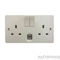 Crabtree Capital White 13A Socket 2 Gang Switched DP c/w 2xUSB 4306/USB/D