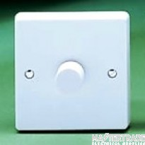 Crabtree Capital White 2x250W Dimmer Switch 2 Gang Rotary Push On/Off 4132/PU