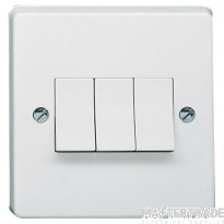 Crabtree Capital White 10A Plate Switch 3 Gang 2 Way SP 4173