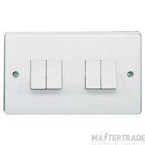 Crabtree Capital White 10A Plate Switch 4 Gang 2 Way SP 4174