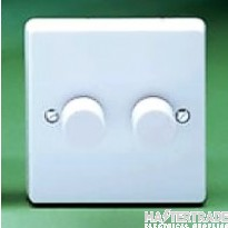 Crabtree Capital White 2x400W Dimmer Switch 2 Gang Rotary Push On/Off 4192/PU