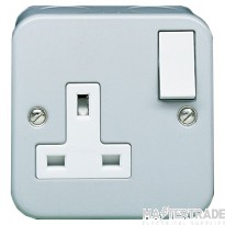 Crabtree Metal Clad 13A Socket Outlet 1 Gang Switched SP 4214/BG