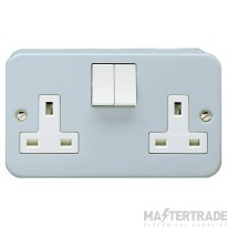 Crabtree Metal Clad 13A Socket Outlet 2 Gang Switched SP 4216/BG