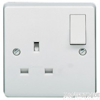 Crabtree Capital White 13A Socket 1 Gang Switched SP Dual Earth 4304