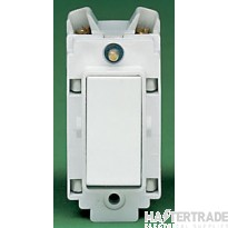 Crabtree Rockergrid White 20A Grid Switch DP Marked ON 4469