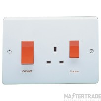 Crabtree Capital White 45A Cooker Control Switch DP Main Switch & Socket 4520/1