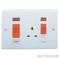 Crabtree Capital White 45A Cooker Control Switch DP Main Switch & Socket c/w Neon 4520/31
