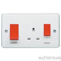 Crabtree Capital White 45A Cooker Control Switch DP Main Switch & Socket 4521/1