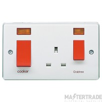 Crabtree Capital White 45A Cooker Control Switch DP Main Switch & Socket c/w Neon 4521/31