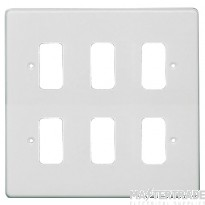 Crabtree Rockergrid White Frontplate 6 Gang Rockergrid Flush 5576