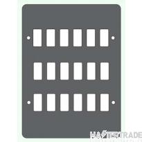 Crabtree Rockergrid Birch Grey Frontplate 18 Gang Rockergrid Surface 6580/18BG