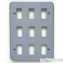 Crabtree Rockergrid Birch Grey Frontplate 9 Gang Rockergrid Surface 6589/BG