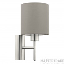 Eglo 94925 Pasteri One Light Wall Light In Satin Nickel With Taupe Fabric Shade