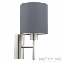 Eglo 94926 Pasteri One Light Wall Light In Satin Nickel With Grey Fabric Shade