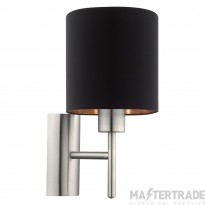 Eglo 95052 Pasteri One Light Wall Light In Satin Nickel With Black And Copper Shade