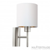 Eglo 95053 Pasteri One Light Wall Light In Satin Nickel With White And Copper Shade
