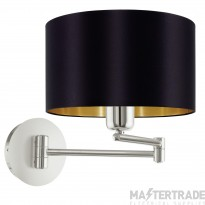 Eglo 95054 Maserlo One Light Wall Light In Satin Nickel With Black And Gold Shade