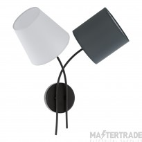 Eglo 95193 Almeida Two Light Wall Light In Black With Fabric Shades