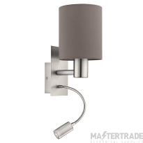 Eglo 96481 Pasteri Two Light Wall Light In Satin Nickel With Brown Shade And LED Reading Light
