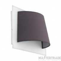 Eglo 97624 Serravalle 1 Light Wall Light In White With Grey Fabric Shade