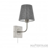 Eglo 97887 Pausia 1 Light Wall Light In Satin Nickel With Grey Linen Shade