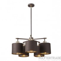 BALANCE5 BRPB Balance 5 Light Chandelier In Brown And Polished Brass