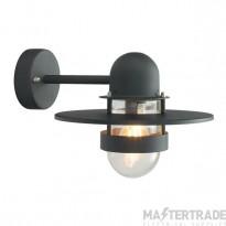 Norlys BERGEN BLACK C Bergen 1 Light Wall Lantern Light In Black With Clear Glass