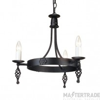 Elstead Belfry BY3 3 Light Ceiling Pendant In Black Wrought Iron