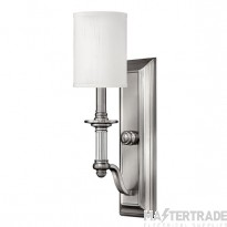 HK/SUSSEX1 Sussex 1 Light Brushed Nickel Wall Light with Shade