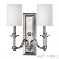 HK/SUSSEX2 Sussex 2 Light Brushed Nickel Wall Light with Shade