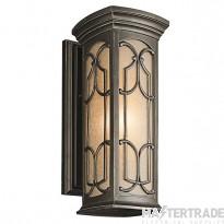Elstead KL/FRANCEASI/M Franceasi 1 Light Medium Wall Lantern Light In Olde Bronze - H: 457mm