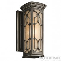Elstead KL/FRANCEASI/S Franceasi 1 Light Small Wall Lantern Light In Olde Bronze - H: 368mm