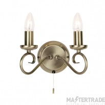 Endon 180-2AN 2 Light Wall Light In Antique Brass