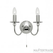 Endon 2013-2CH 2 Light Wall Light In Chrome And Glass